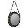 Dalla Mirror, Distressed Black Finish with Brown Undertones