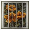 Cooper Classics Orange Flowers, Brushed Silver Frame, Hand Painted, High Gloss, 3 Dimensional