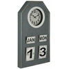Venda Clock, Distressed Blue Gray Finish with Cream Accents, Under Glass
