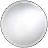 Seymour Round Mirror, Mocha Finish, Beveled Mirror