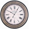 Hamilton Clock, Aged Gray Finish with Black Borders, Under Glass