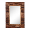 Blakely Mirror, Dark Natural Wood Finish, Beveled Mirror
