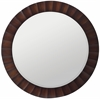 Cooper Classics Savona Round Mirror, Washed Brown Finish with Dark Brown Highlights, Beveled Mirror