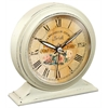 5.75 in Round Tabletop Clock, White Finish Case, Glass Lens, Built-in Alarm, Second Hand