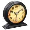 5.75 in Round Tabletop Clock, Black Finish Case, Glass Lens, Built-in Alarm, Second Hand