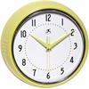 Infinity Instruments Retro Yellow Retro Steel Case Round Clock in Yellow