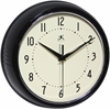 Infinity Instruments Retro Black Retro Steel Case Round Clock in Black
