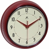 9.5 in Round Wall Clock, Red Finish Case, Glass Lens, Second Hand, Silent Movement