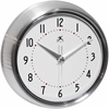 9.5 in Round Wall Clock, Silver Finish Case, Glass Lens, Second Hand, Silent Movement