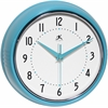 Infinity Instruments Retro Turquoise Retro Steel Case Round Clock in Turqoise