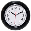 8.75 in Round Wall Clock, Black Finish Case, Shatter-Resistant Lens, Second Hand, Silent Movement