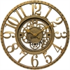 "Infinity Instruments Gear 15.5"" Round Antique Gold Finish Case Open Gear Design Dial"