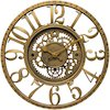 15.5 in Round Wall Clock, Gold Finish Case, Open Face