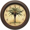 "Infinity Instruments The Cabana 12"" Round Brown Finish Case, Ornate Hands, Palm Tree Designed Dial and Glass Lens Silent Movement"