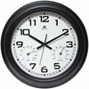 "Infinity Instruments Garden Clock 18"" Round Black Steel Case w/ Hygrometer &Thermometer"