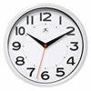 "Infinity Instruments Metro-White 9"" Round White Case Clock w/ Silent Movement"