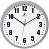 "Infinity Instruments Silver Office Clock 12"" Silver Office Wall Clock"