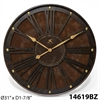 "Infinity Instruments The Arcadian 31"" Rustic Decorative Clock w/ Brass Finishings"