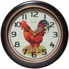 """Infinity Instruments Red Rooster 12"""" Round, Black Finish Case w/ Rose Gold Accent Bezel, Rooster Design Dial, Glass Lens, Silent Movement"""