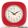 "Infinity Instruments Classic Diner 11"" Metal Clock in Red"