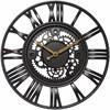 "Infinity Instruments Roman Gear 15.5"" Roman Gear Rustic Iron Clock"