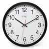 14 in Round Wall Clock, Black Finish Case, Shatter-Resistant Lens, Second Hand, Silent Movement