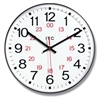 12 in Round Wall Clock, Brown Finish Case, Shatter-Resistant Lens, Second Hand, Silent Movement