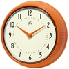 Retro Orange Retro Steel Case Round Clock in Orange
