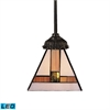 ELK lighting Mix-N-Match 1 Light LED Pendant In Tiffany Bronze And Multicolor Glass