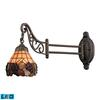 ELK lighting Mix-N-Match 1 Light LED Swingarm In Vintage Antique With Stained Glass
