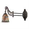 ELK lighting Mix-N-Match 1 Light Swingarm In Tiffany Bronze And Multicolor Glass