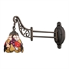Mix-N-Match 1 Light Swingarm In Tiffany Bronze And Multicolor Glass