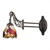 ELK lighting Mix-N-Match 1 Light Swingarm In Tiffany Bronze And Multicolor Glass