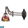 Mix-N-Match 1 Light LED Swingarm In Tiffany Bronze And Multicolor Glass