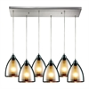 ELK lighting Reflections 6 Light Pendant In Satin Nickel And Multicolor Glass