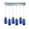 Iridescence 6 Light Pendant In Satin Nickel And Storm Blue Glass
