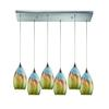 ELK lighting Geologic 6 Light Pendant In Satin Nickel And Multicolor Glass