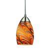 ELK lighting Mini Vortex 1 Light Pendant In Satin Nickel And Rainbow Glass