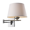 Lanza 1 Light Swing Arm Sconce In Polished Chrome With Off-White Shade