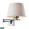 ELK lighting Lanza 1 Light LED Swing Arm Sconce In Polished Chrome With Off-White Shade