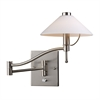 Swingarms 1 Light Swingarm Wall Sconce In Satin Nickel And White