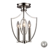 ELK lighting Dione 3 Light Semi Flush In Polished Nickel - Includes Recessed Lighting Kit