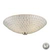 Fusion 2 Light Semi Flush In Satin Nickel And Silver Mosaic Glass - Includes Recessed Lighting Kit