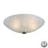 Fusion 2 Light Semi Flush In Satin Nickel And White Mosaic Glass - Includes Recessed Lighting Kit