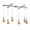 ELK lighting Capri 6 Light Pendant In Satin Nickel And Capiz Shell