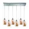 Capri 6 Light Pendant In Satin Nickel And Capiz Shell