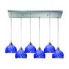 Cira 6 Light Pendant In Satin Nickel And Pebbled Blue Glass