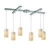 ELK lighting Coletta 6 Light Pendant In Satin Nickel And Genuine Stone