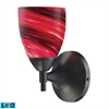 Celina 1 Light LED Sconce In Dark Rust And Autumn Glass