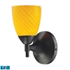 Celina 1 Light LED Sconce In Dark Rust And Canary Glass